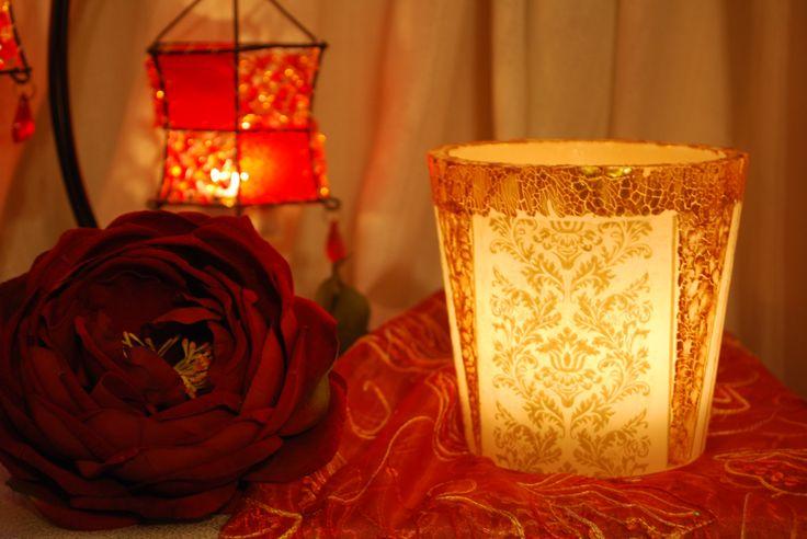 Κερί φαναράκι (βάζετε μέσα ρεσώ) Τεχνική ντεκουπάζ στο κερί και πάστα κρακελέ