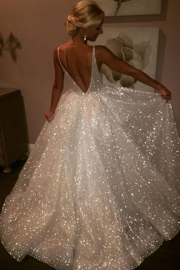 Sparkly Ball Gown V Back White Long Prom Dress  prom   dress   long prom  dress   v back   ball gown   white   evening dress   formal dress  564374585f8f