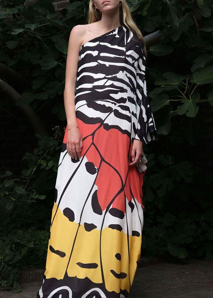 DHELA One Shoulder Long Kaftan Dress (Monarch Yellow)