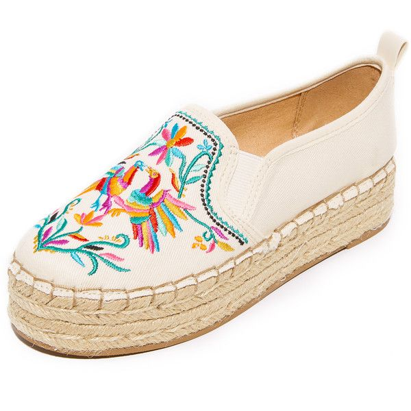 Sam Edelman Carrin II Embroidered Espadrilles ($100) ❤ liked on Polyvore featuring shoes, sandals, modern ivory multi, platform shoes, woven sandals, canvas sandals, embroidered sandals and multi color sandals