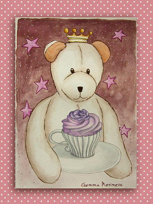 Osito corona con cupcake. (Gemma Merinero)