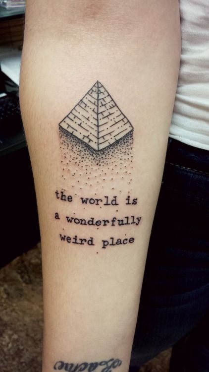 Pyramid and Tom Robbins quote done by our apprentice Danielle AKA Rabbit :) at Ascending Lotus TattooVancouver, WA