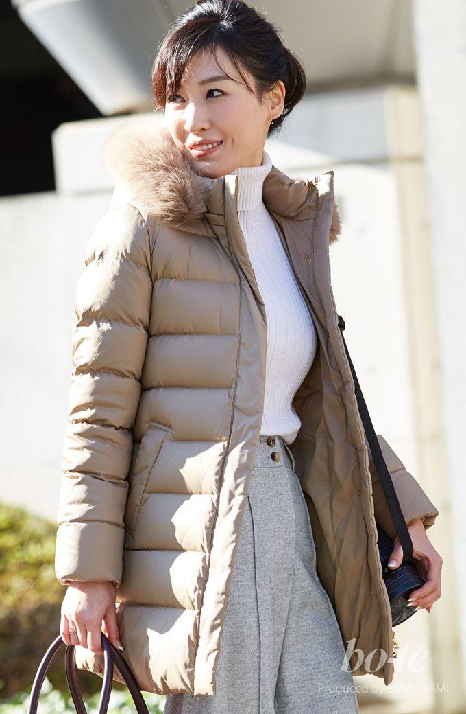 ベージュ・白・グレーのまろやかな配色をクールに仕上げたパンツスタイル2#fashion #coordinate #ファッション #ダウンコート
