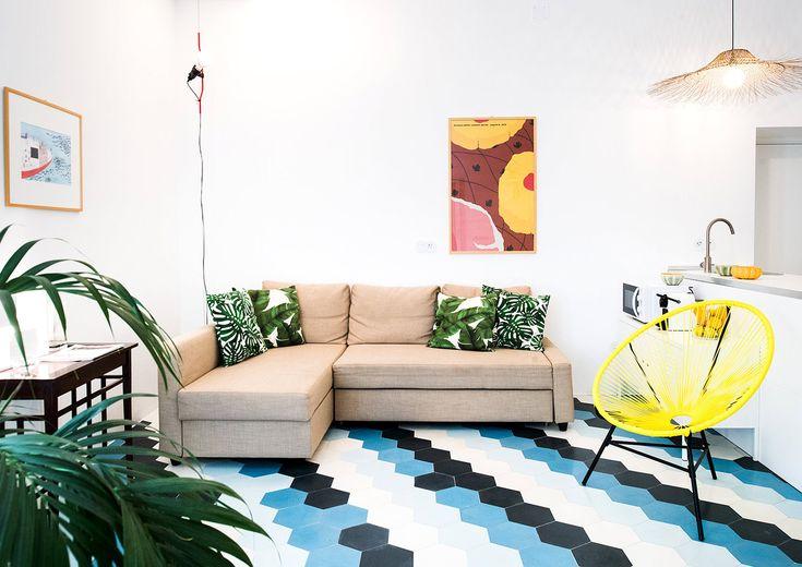 Una sala de estilo tropical