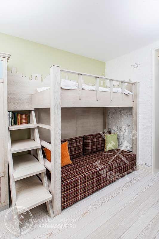 Детская двухъярусная кровать из массива дерева #hardmassive #modernbed #bedwood
