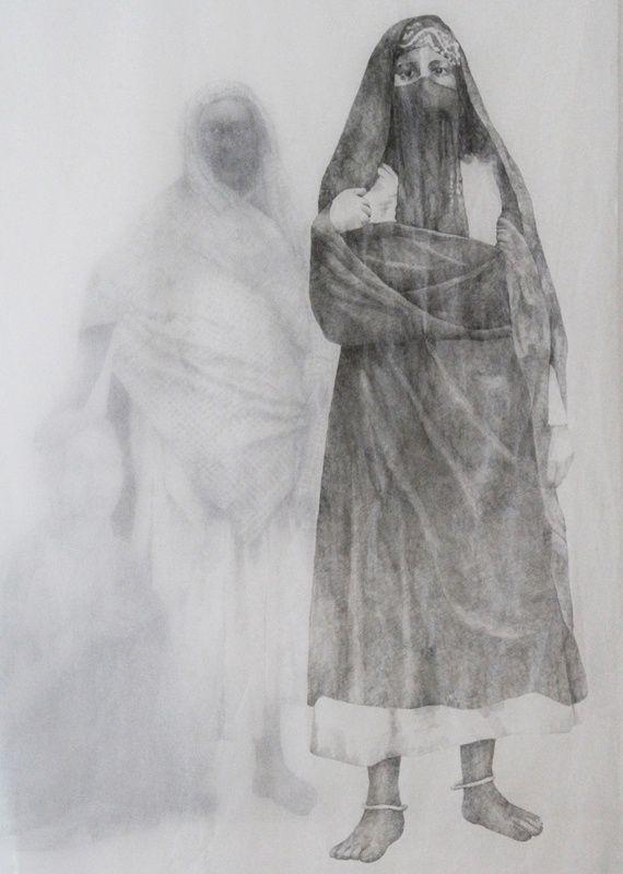 Ράνια Μπέλλου, Ghost of My Shadow III, 2013, μολύβι σε γιαπωνέζικο χαρτί, 160 x 97 εκ., KALFAYAN GALLERIES (Αθήνα-Θεσσαλονίκη)