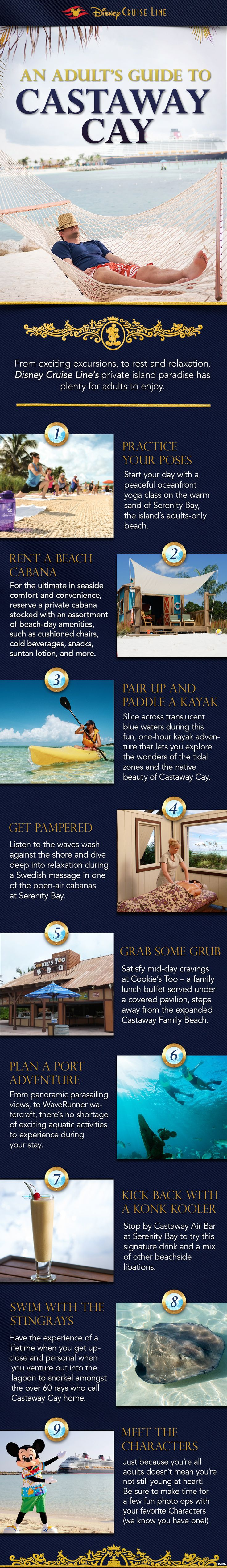 From exciting excursions to rest and relaxation, Disney Cruise Line's private island paradise has plenty for adults to enjoy.