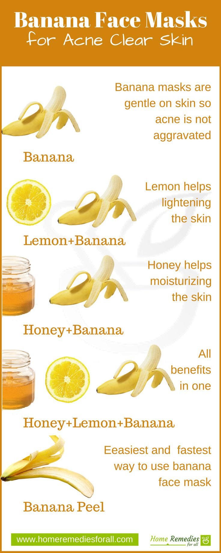 Banana makes some very effective face masks for your skin. Try these 5 face masks to clear your acne and make your skin glow.