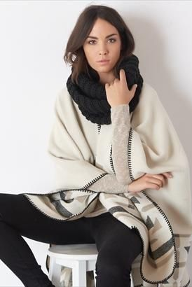 Stay nice and bundled this fall in an eternity scarf/ poncho combo