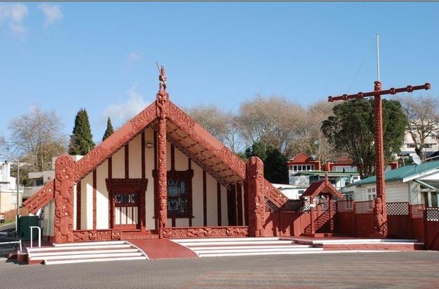 Rotorua, New Zealand north island. The Maori meeting house.