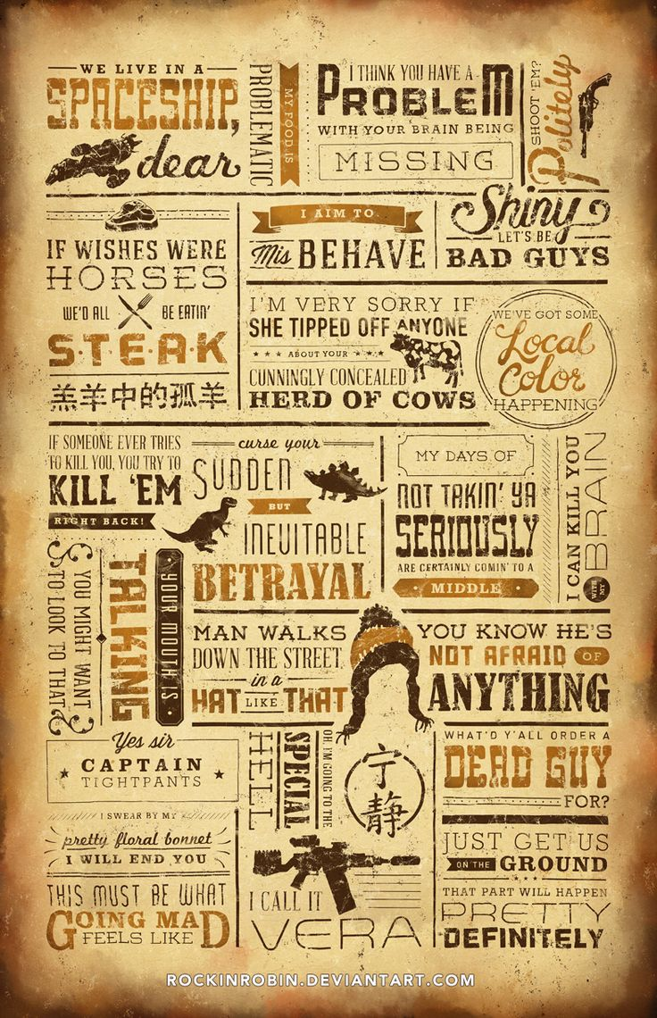 """We aim to misbehave. This 11x17"""" print features some of the most memorable quotes from Joss Whedon's Firefly. Printed on matte cardstock. Shiny! [NOTE: The actual print does not have the website signature]"""