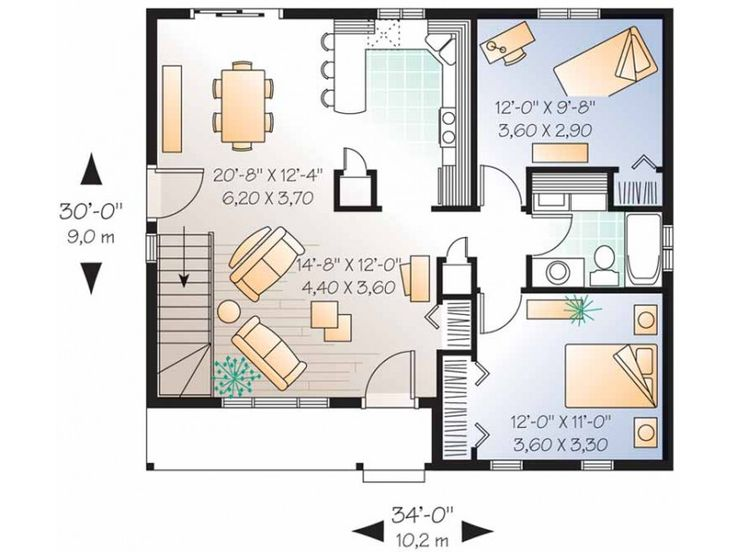1000 ideas about two bedroom house on pinterest small home plans small cottage plans and - Best house plans for a family of four ...