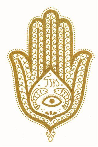 hamsa - protection from envy, jealousy and negative thought. This most ancient symbol originates from the earliest Mediterranean cultures. The Hamsa is used to ward off the evil eye (ayin raah). Often displayed near a door or window it will protect the bearer or domain. 6 inches x 3 inches. Ready to hang. Color choice - Cobalt Blue or Henna. The center is a natural Howlite stone that has been dyed turquoise.