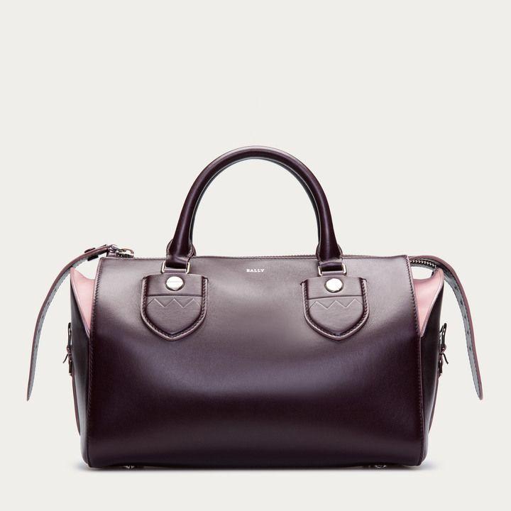 Бордовый кожаный средний цветение средний женская сумка для боулинга