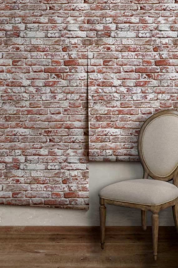 Whitewashed Antique Brick Peel N Stick Or Traditional Wallpaper Made In The Usa Vinyl Free Non Toxic In 2021 Faux Brick Walls Antique Brick Brick Wallpaper