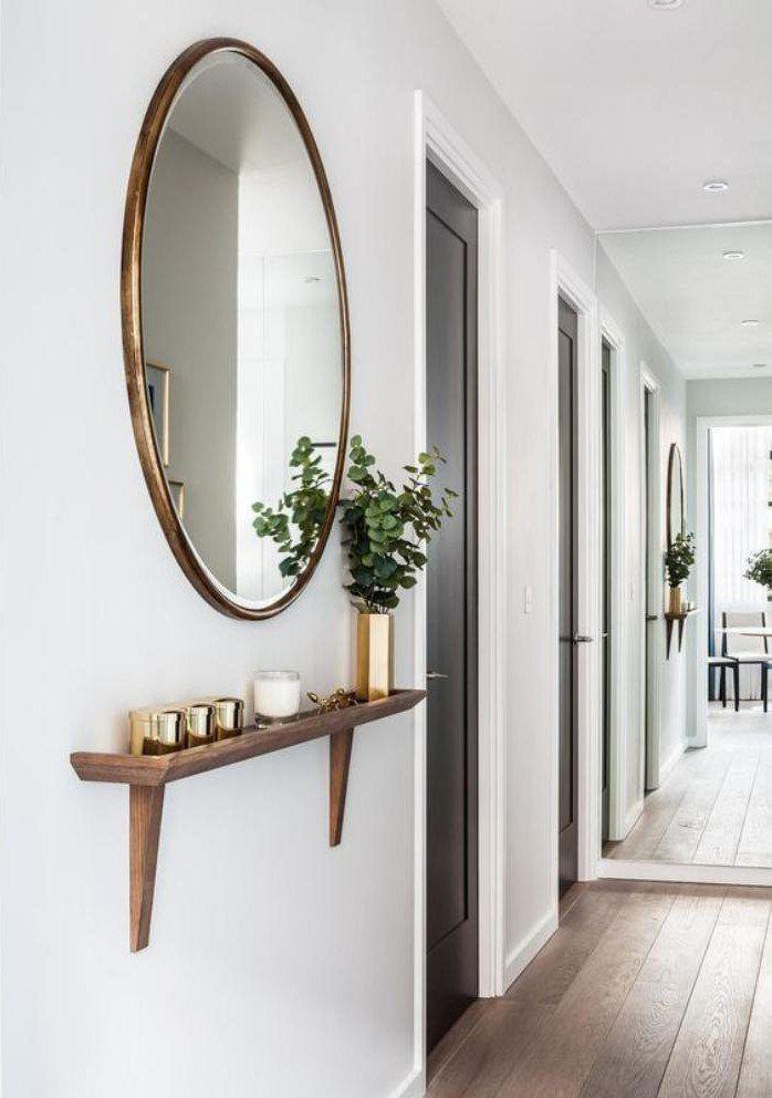 miroir pour entrée, entrée longue et belle avec miroir rond LA CONSOLE