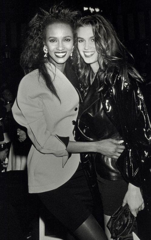 Iman et Cindy Crawford look années 80