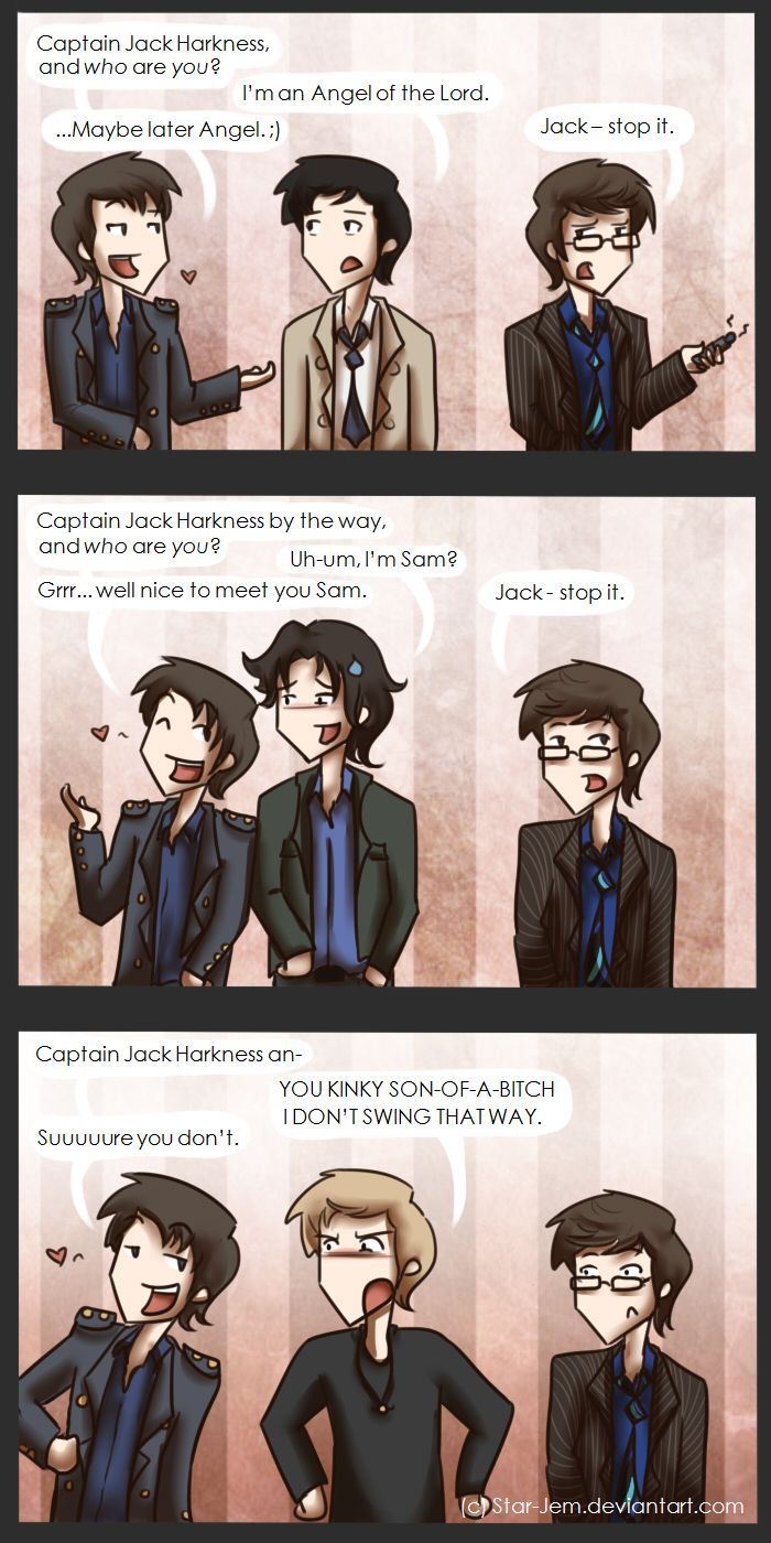 Captain Jack Harkness meets the boys from Supernatural. by ~Star-Jem on deviantART