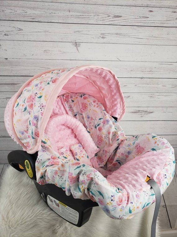 Watercolor Floral Baby Car Seat Cover With Pink Minky Custom Etsy Baby Car Seats Baby Girl Car Seats Baby Doll Car Seat