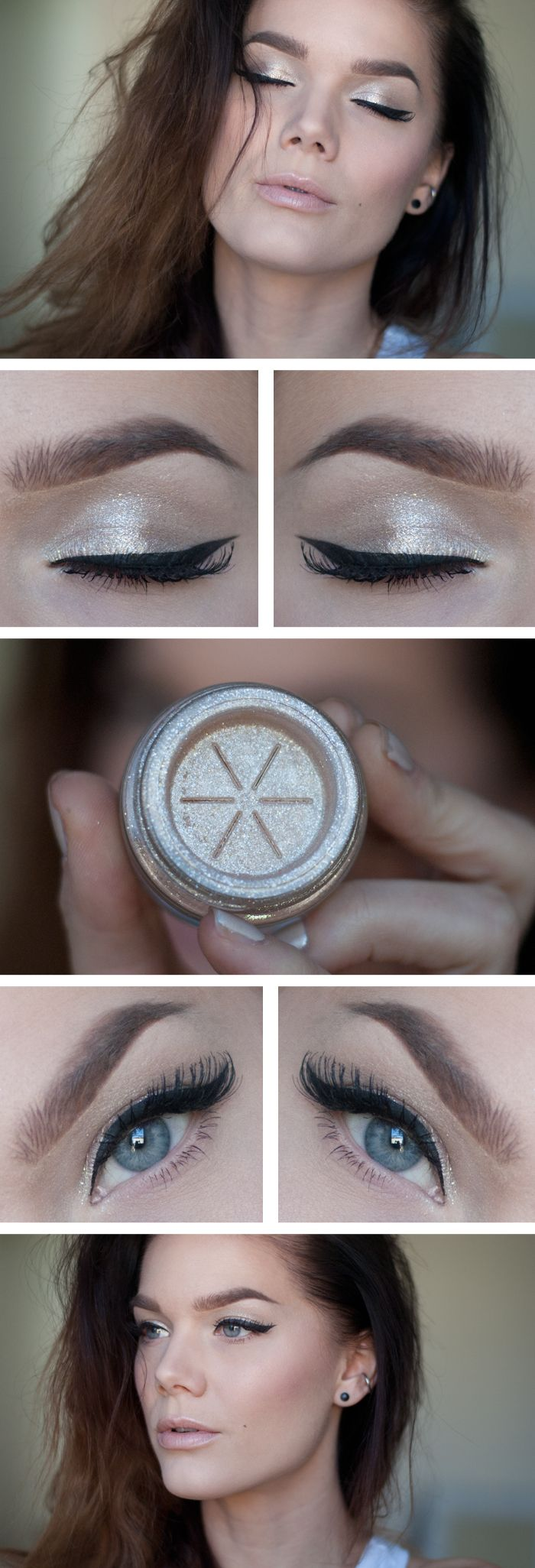 """Today's Look : """"Nude Beam"""" -Linda Hallberg (Too Faced Glamour dust in Nude Beam, eyeliner, a light pink lip and voila! a beautiful minimal makeup look.) 11/05/13"""