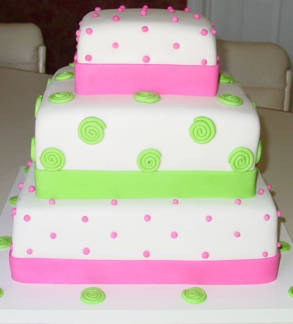 Pink and Green Square wedding cake. 3 tiers. - All covered in MM fondant, swirls and balls included.
