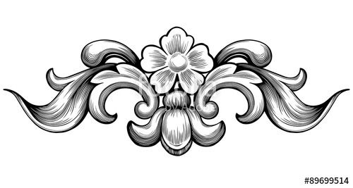 Вектор: Vintage baroque floral scroll foliage ornament filigree engraving retro style design element vector