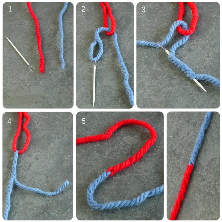 Technique pour assembler 2 bouts de laine de manière invisible et très solide. 1. une aiguille à laine et ciseaux 2. forme une boucle avec un fil, enfile l'autre dans l'aiguille 3. pique l'aiguille dans son propre fil, en passant dans la boucle de l'autre fil. Il faut enfiler l'aiguille dans le coeur du fil, au moins toute la longueur de l'aiguille. 4. tire délicatement l'aiguille pour faire passer le fil, coupe le bout qui dépasse, arrange un peu la laine. 5. faire idem avec l'autre f...