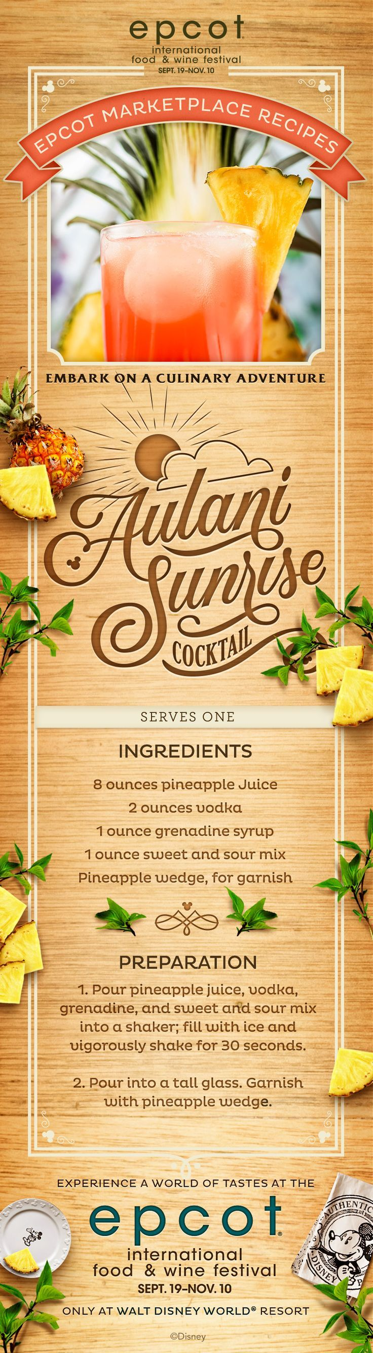 Epcot International Food & Wine Festival Recipe: Aulani Sunrise Cocktail with pineapple, vodka, grenadine and sweet and sour mix.