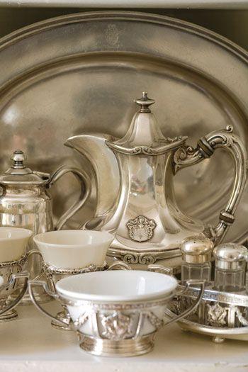 silver vintage tea set.