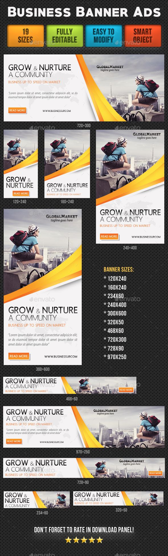 Corporate Business Banner Ads V1 — Photoshop PSD #banners #web banners • Available here → https://graphicriver.net/item/corporate-business-banner-ads-v1/18398955?ref=pxcr