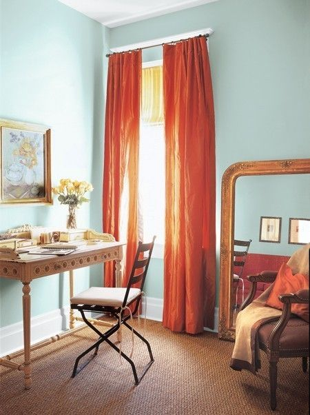 blue_room_orange_curtains love this look for our master bed room.  I really like the orangey curtains and the baby blue walls.  Perfect