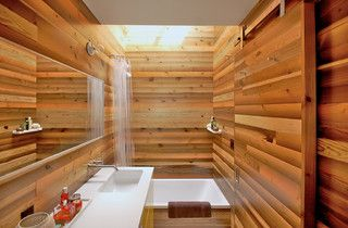Love the wood in the shower.