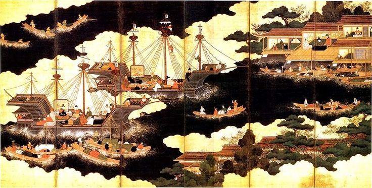Nanban portuguese ships arriving in Japan. 16th century (1543) painting,  Portugal in Japan