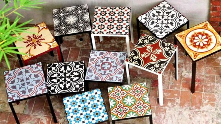 Use tile stickers to create a rad little side table - what a brilliant idea! Weekend project!