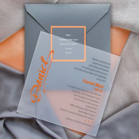 """Ice"", gray and orange Bar Mitzvah invitation available from ivysinvitations.com"