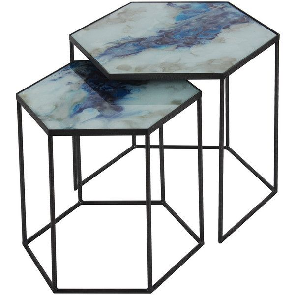 Notre Monde Hexagonal Side Table Set   Cobalt Mist (£524) ❤ Liked On  Polyvore Featuring Home, Furniture, Tables, Accent Tables, Blue, Hexagon Side  Table, ...