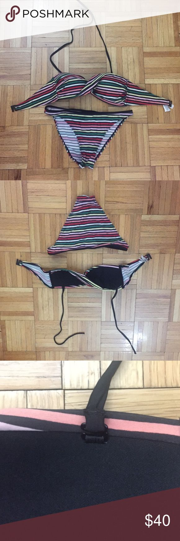 "Etam (Spain) Bandeau Bikini Set Gently used; good condition; removable halter strap; top for 32-34B; bottom for 32-34""hips; Spanish swimwear designer Etam Swim Bikinis"