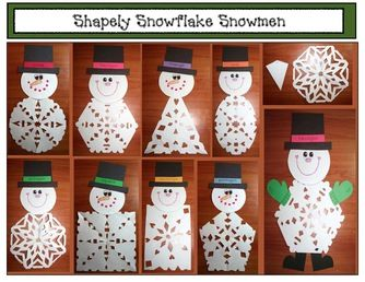 "Snowman activities: Awesome 2D ""Snippy the Snowflake Snowman"" craftivity.  Packet includes patterns, simple directions and photographs. Super-fun way to review 2D shapes.  Kiddos can make their favorite."