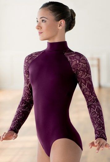bccf48c15d Leotard With Lace Long Sleeves
