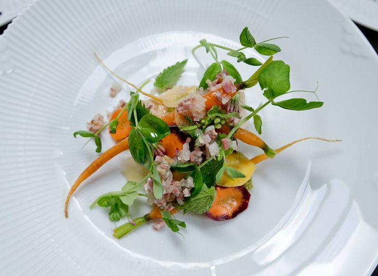 """""""Italian salad"""" - one of David Johansen's main courses at CPH Nordic Dining. Young rooster, langoustine, ham, carrots, peas and warm mayonnaise."""