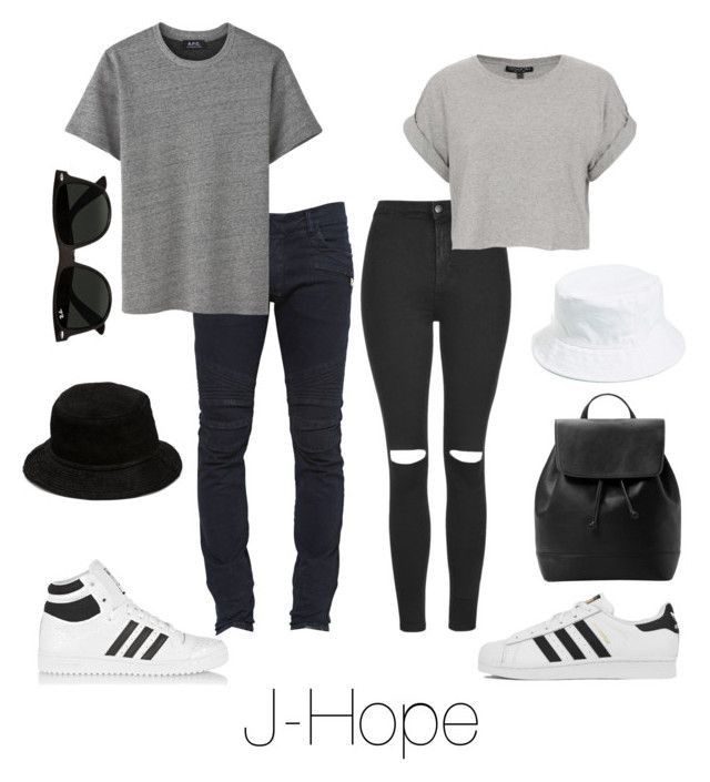"""""""Couple Outfit with J-Hope"""" by btsoutfits ❤ liked on Polyvore featuring Topshop, Balmain, adidas Originals, adidas, Alexander Wang, Amici Accessories, MANGO and Ray-Ban"""
