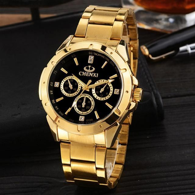 CHENXI Luxury Gold Men's Watches Unique Business Dress Wristwatch for Man Woman Lover's Clock Golden Waterproof Male Female Gift #watches #watch #USA