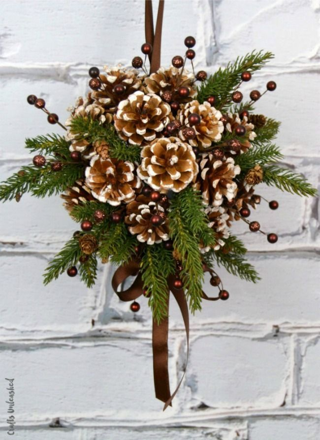 DIY Pine Cone Kissing Ball