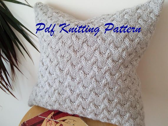 PDF KNITTING PATTERN Cable knit pillow cover Fly cables fly