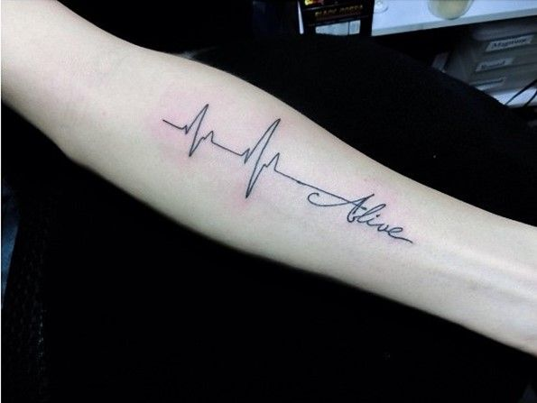 lifeline tattoos with alive words on arm