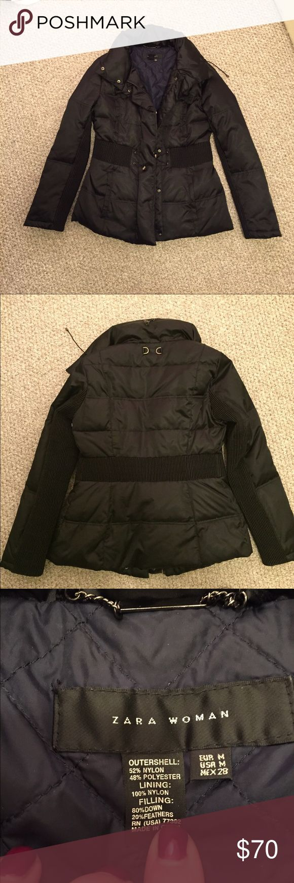 """Zara Woman puffer coat nwot . Size m Beautiful Zara puffer coat. 26"""" in length with 4 pockets in front. Snap and or zipper closet. Black with navy colored liner. Has elastic pulls on sides to cinch the waist. Very cozy and stylish. Fits true to size. I'm a size 8 and it fits perfect. I just have too many coats. Please no low balls! Zara Jackets & Coats Puffers"""