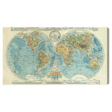 Oliver Gal 'Hemispheres Mapamundi' Canvas Art