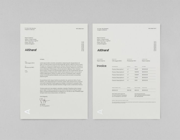 Logo and letterhead designed by Mash for photographer Ali Sharaf.