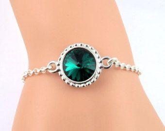 Verde esmeralda pulsera, pulsera de piedra, esmeralda pulsera cristalina, pulsera verde, esmeralda, cristal de Swarovski joyería de mayo