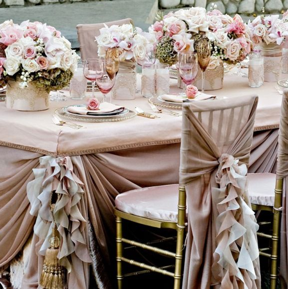 classy vintage wedding reception | Elegant reception linen table set up u003c3 ) : vintage table set up - pezcame.com